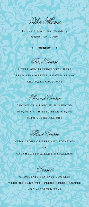 custom menus - bahama blue - magnolia (set of 10)