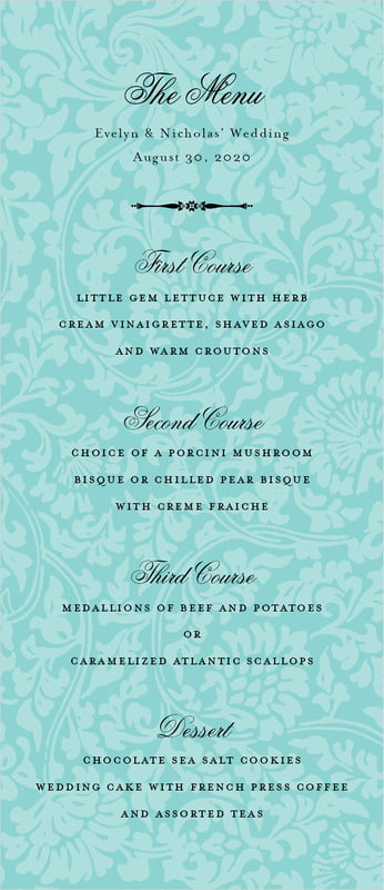 custom menus - aruba - magnolia (set of 10)