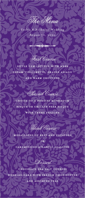 custom menus - purple - magnolia (set of 10)