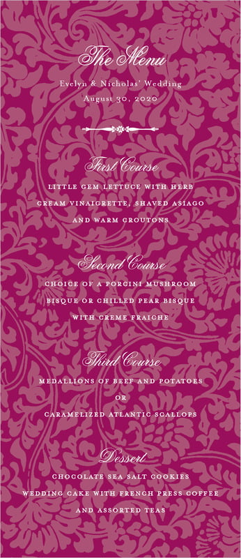 custom menus - burgundy - magnolia (set of 10)