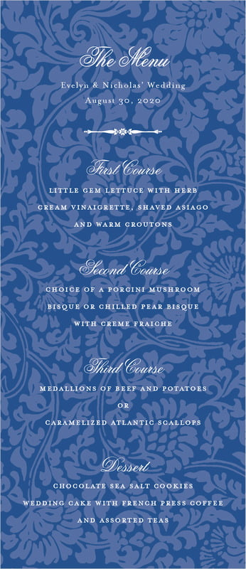 custom menus - deep blue - magnolia (set of 10)