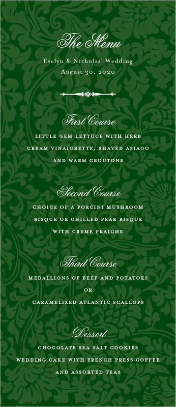 custom menus - deep green - magnolia (set of 10)