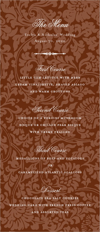 custom menus - chocolate - magnolia (set of 10)
