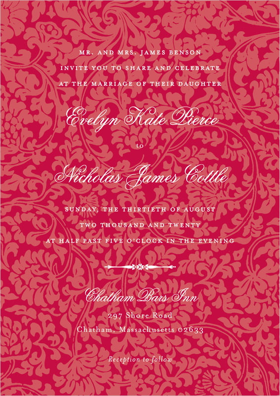custom invitations - deep red - magnolia (set of 10)