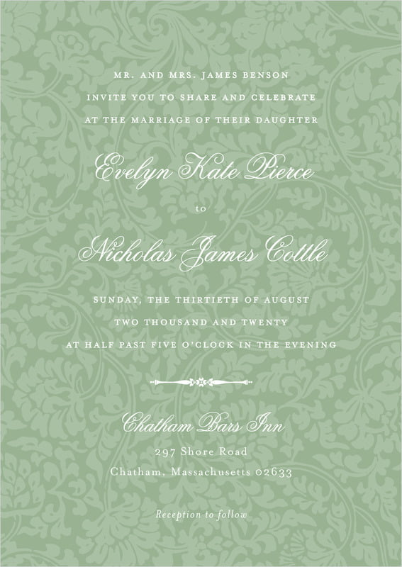 custom invitations - sage - magnolia (set of 10)