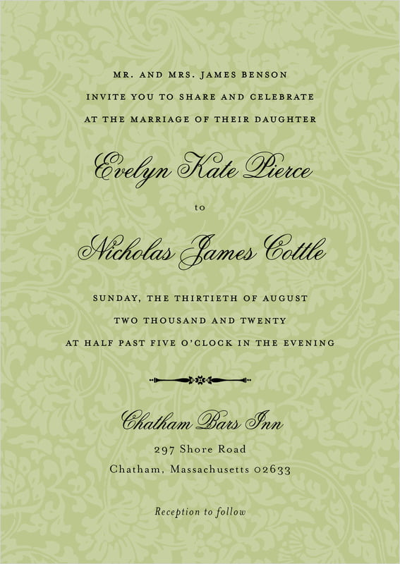 custom invitations - green tea - magnolia (set of 10)