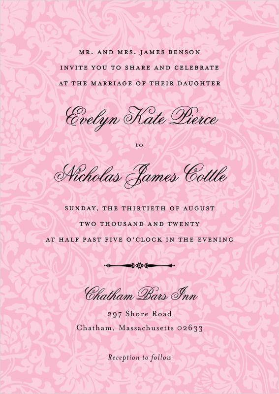custom invitations - pale pink - magnolia (set of 10)