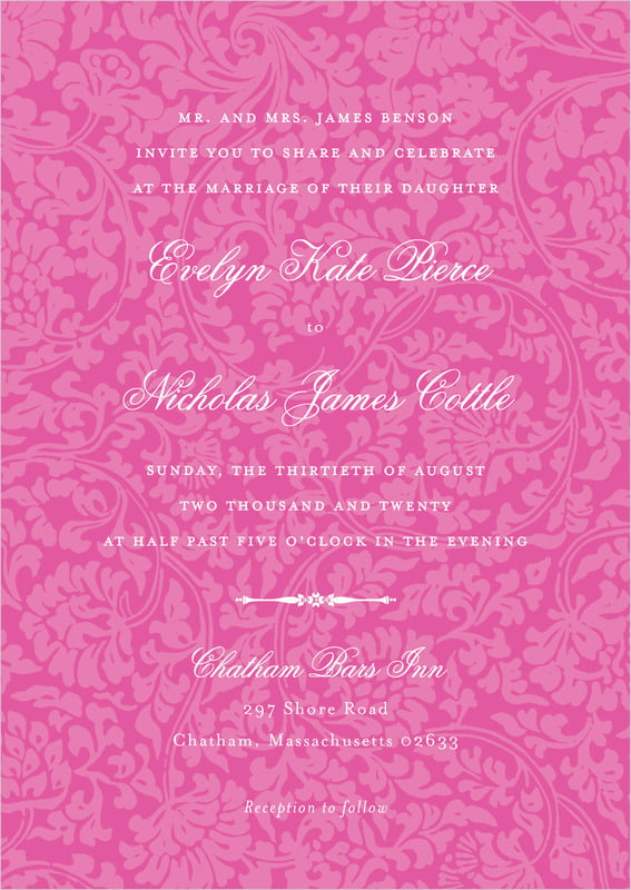 custom invitations - bright pink - magnolia (set of 10)