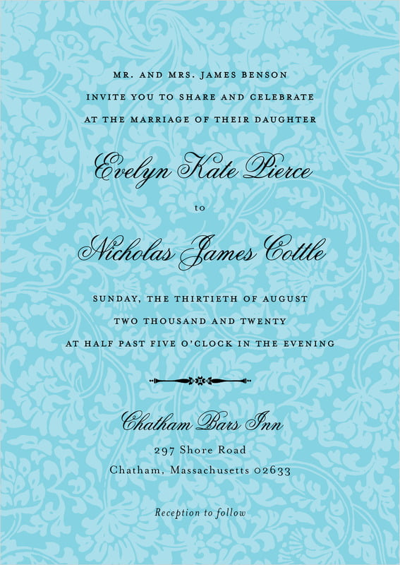 custom invitations - bahama blue - magnolia (set of 10)
