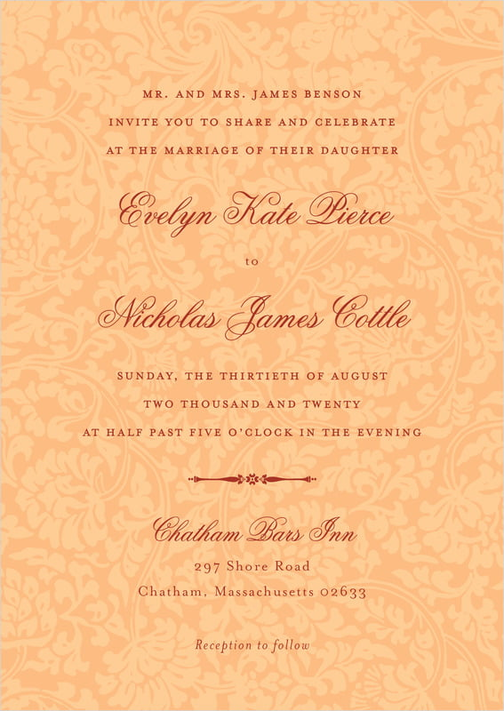 custom invitations - tangerine - magnolia (set of 10)