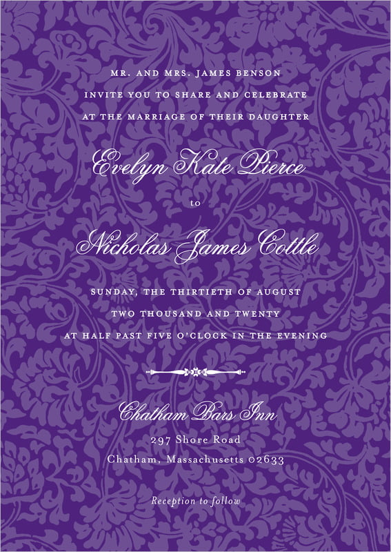 custom invitations - purple - magnolia (set of 10)