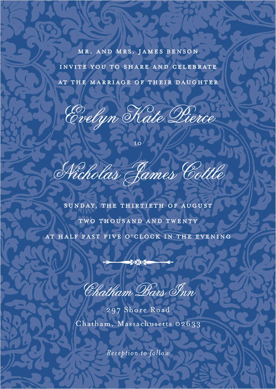 custom invitations - deep blue - magnolia (set of 10)