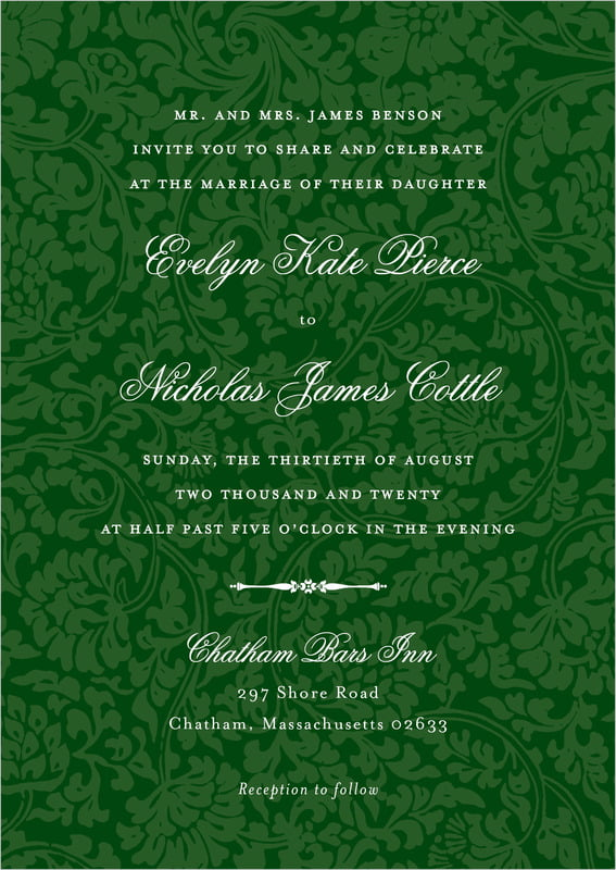 custom invitations - deep green - magnolia (set of 10)