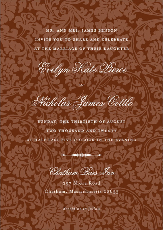 custom invitations - chocolate - magnolia (set of 10)