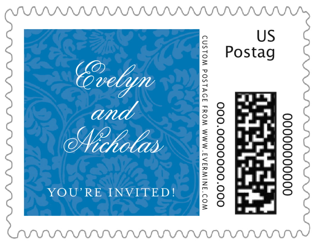 small custom postage stamps - blue - magnolia (set of 20)