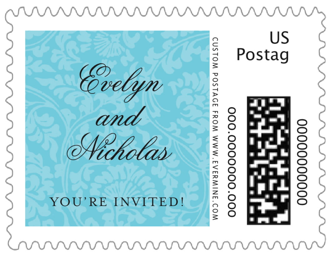 small custom postage stamps - bahama blue - magnolia (set of 20)