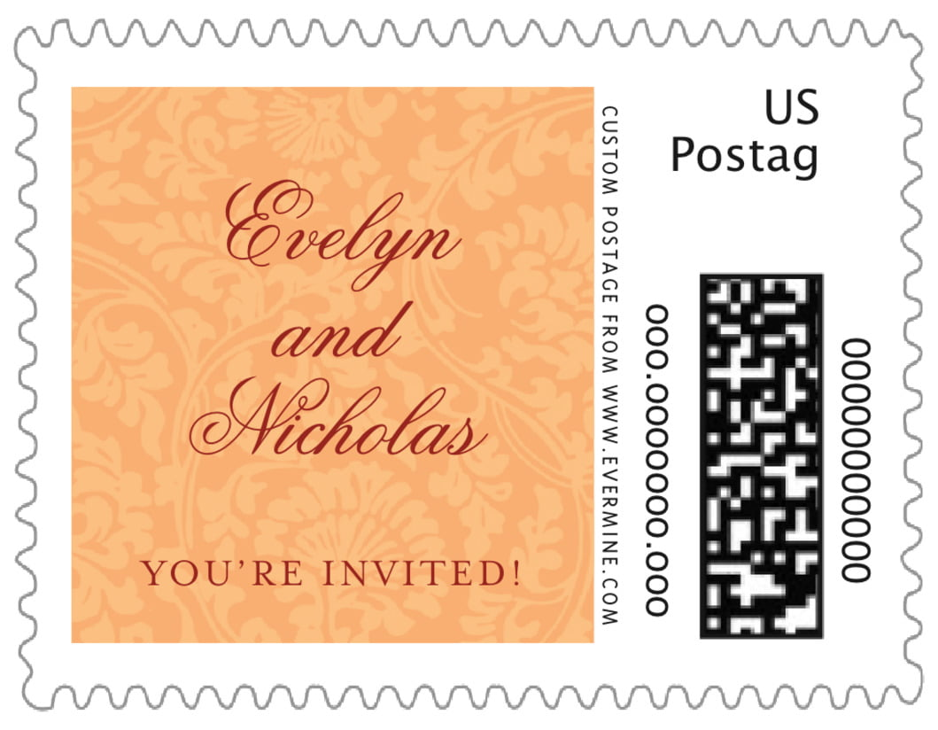 small custom postage stamps - tangerine - magnolia (set of 20)