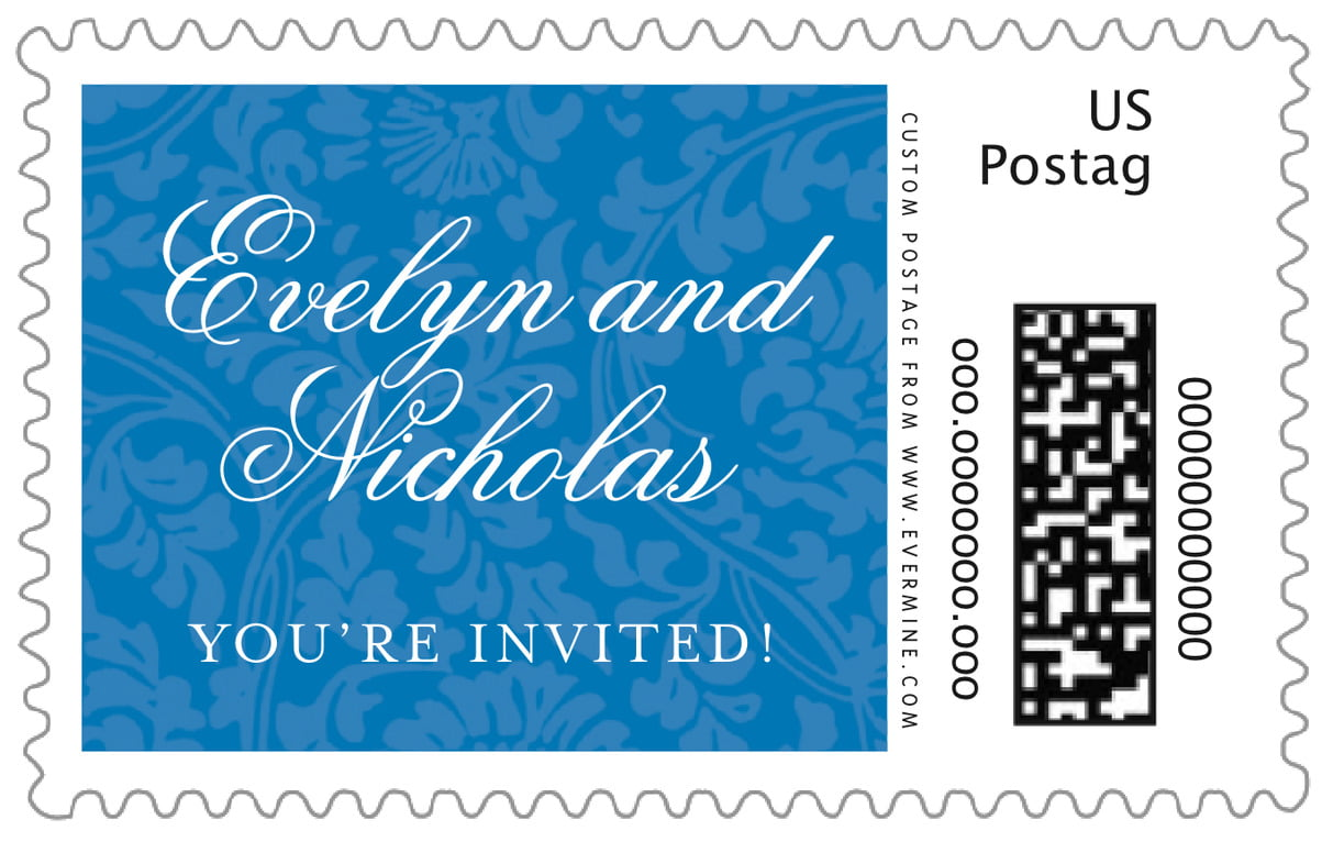 custom large postage stamps - blue - magnolia (set of 20)
