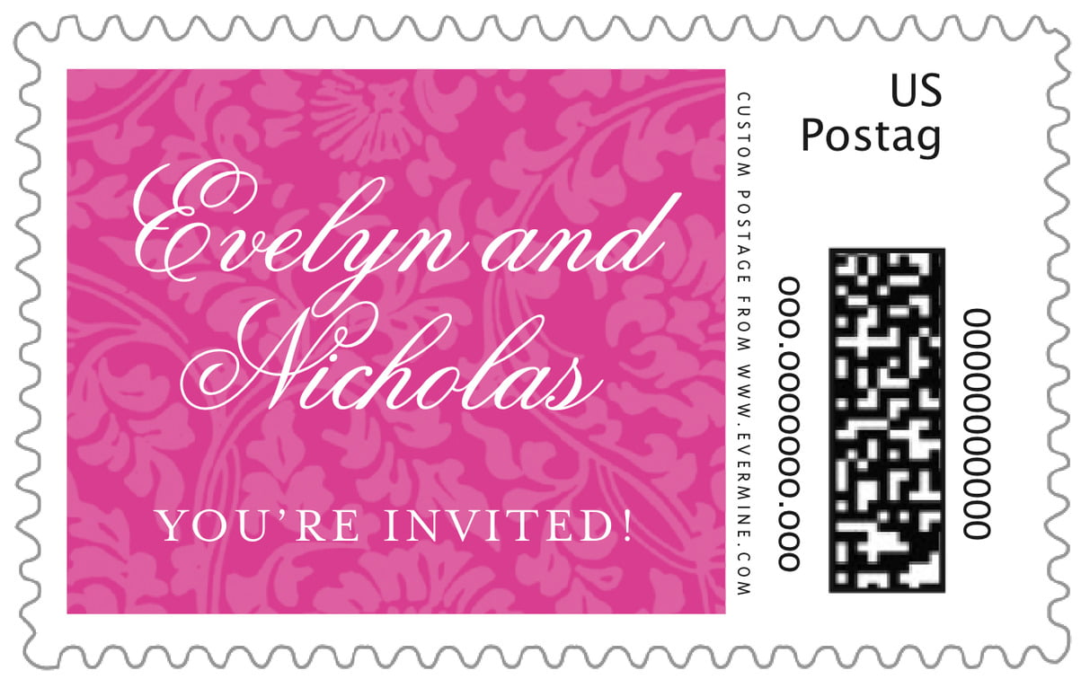 custom large postage stamps - bright pink - magnolia (set of 20)