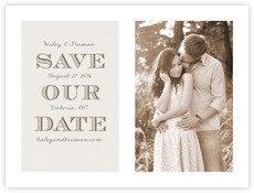 Classic Modern Save The Date Card In Champagne
