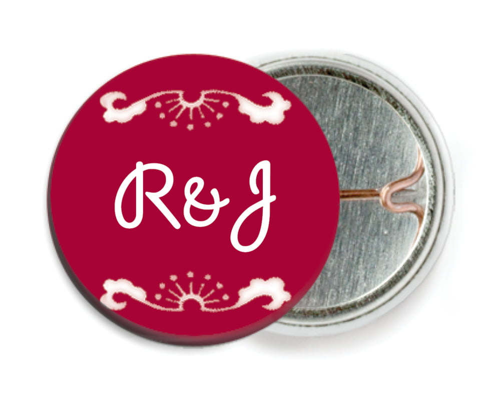custom pin back buttons - red - mai li (set of 6)