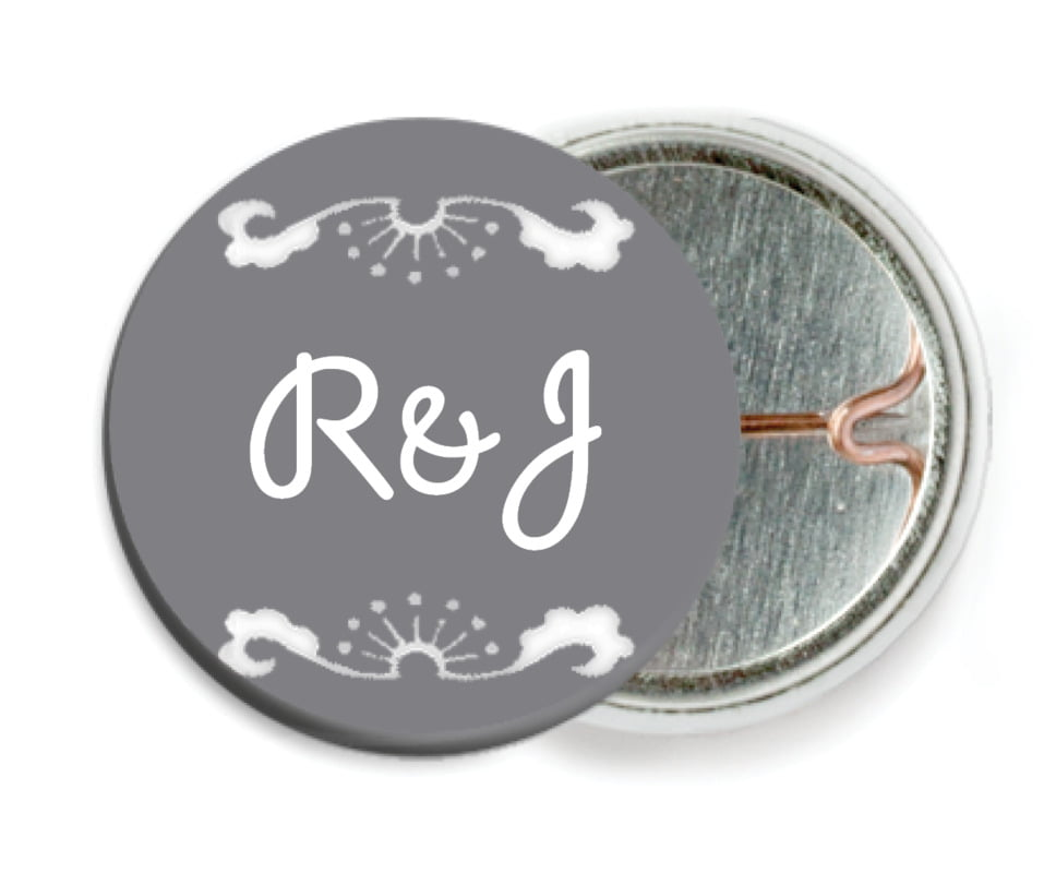custom pin back buttons - charcoal - mai li (set of 6)
