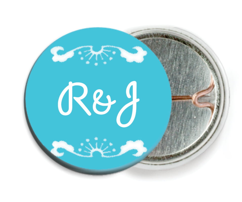 custom pin back buttons - bahama blue - mai li (set of 6)