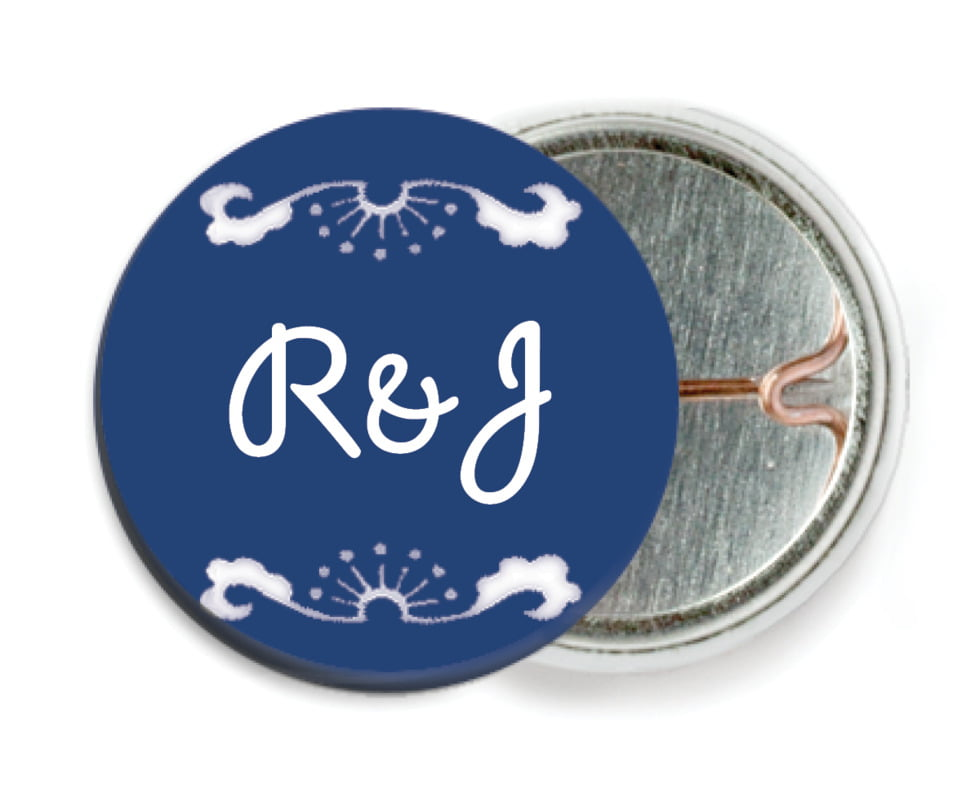 custom pin back buttons - indigo - mai li (set of 6)