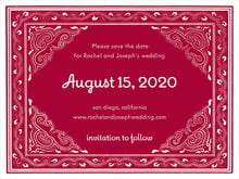 custom save-the-date cards - red - mai li (set of 10)