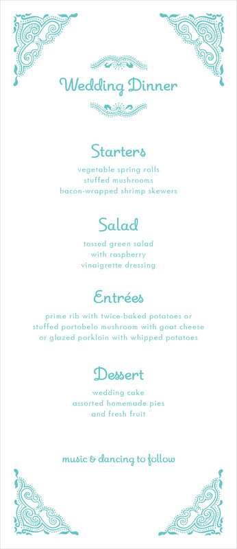 custom menus - aruba - mai li (set of 10)