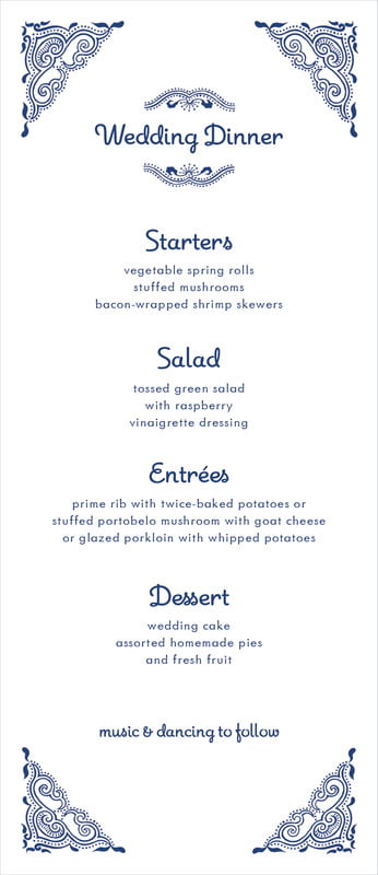 custom menus - indigo - mai li (set of 10)
