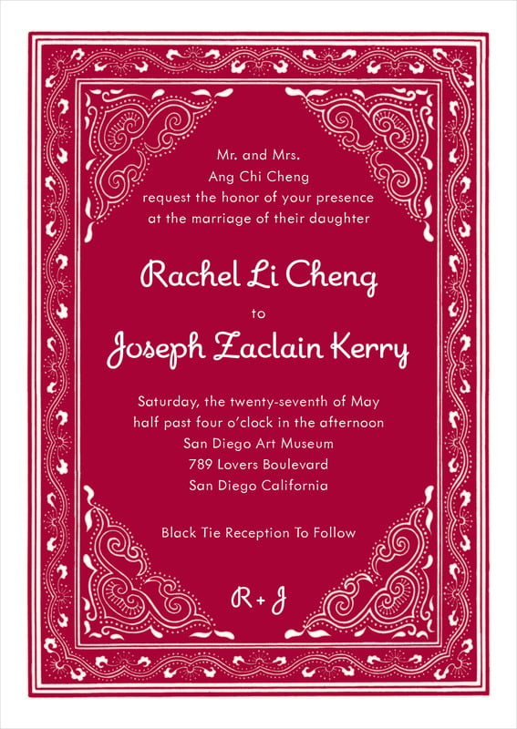 custom invitations - red - mai li (set of 10)