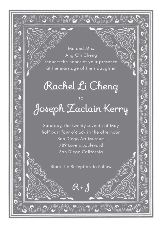 custom invitations - charcoal - mai li (set of 10)
