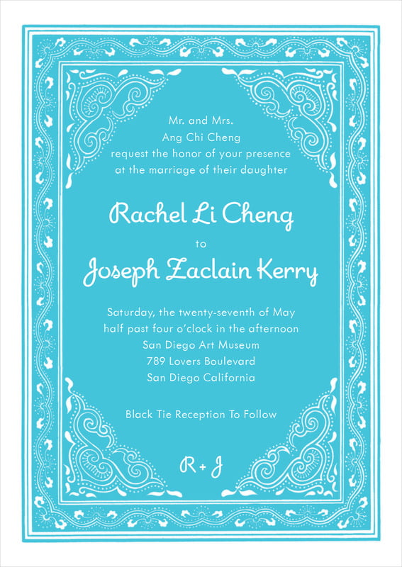 custom invitations - bahama blue - mai li (set of 10)