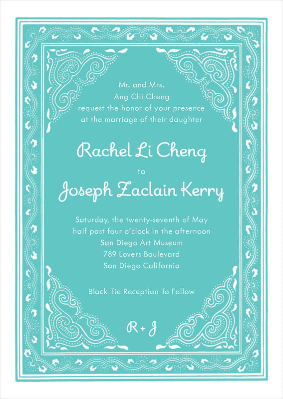 custom invitations - aruba - mai li (set of 10)