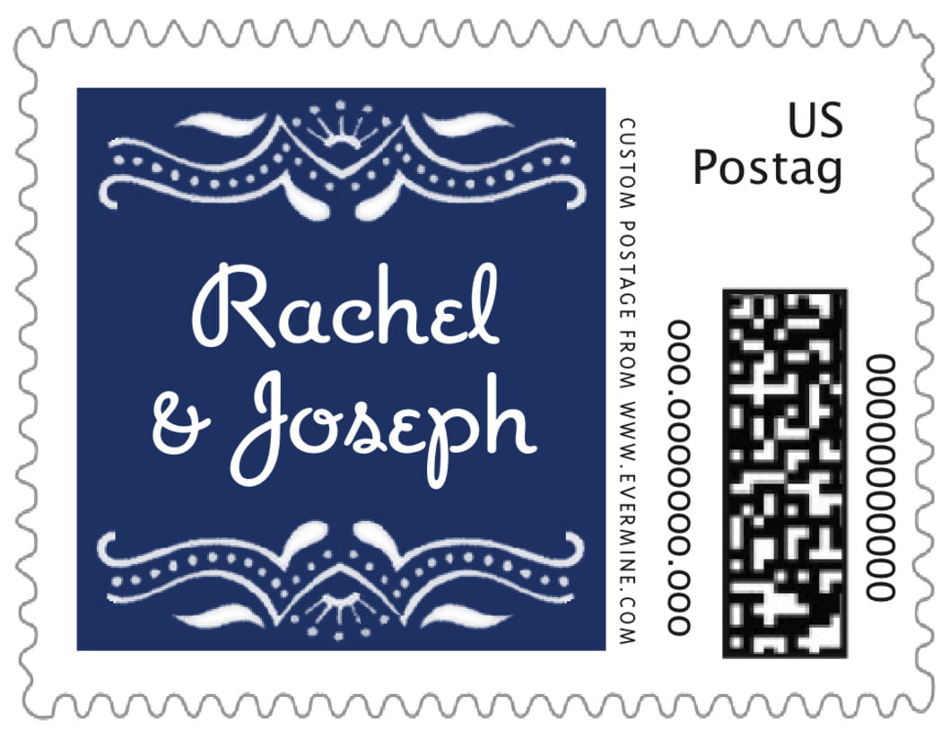 small postage stamps - indigo - mai li (set of 20)