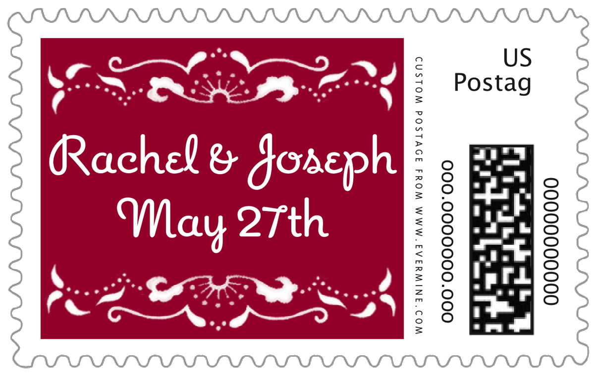 large postage stamps - red - mai li (set of 20)