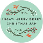 Merry Berries Circle Label In Sea Glass
