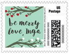 Merry Berries Small Postage Stamp In Sea Glass