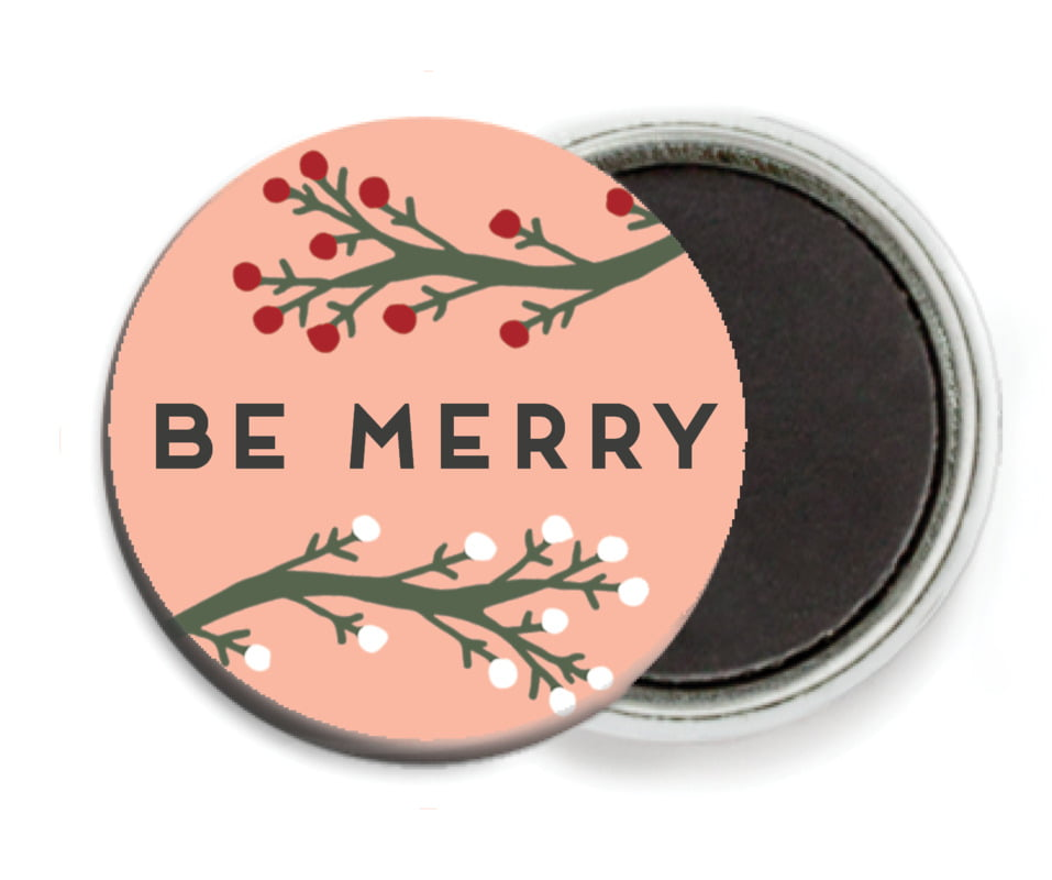 custom button magnets - peach - merry berries (set of 6)