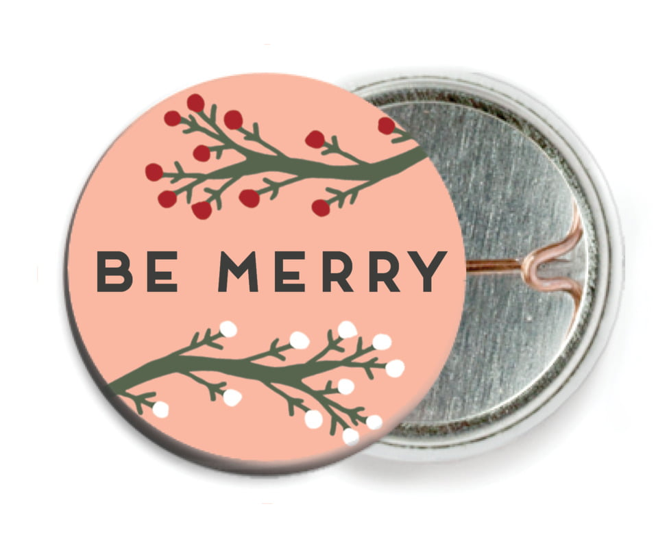 custom pin back buttons - peach - merry berries (set of 6)