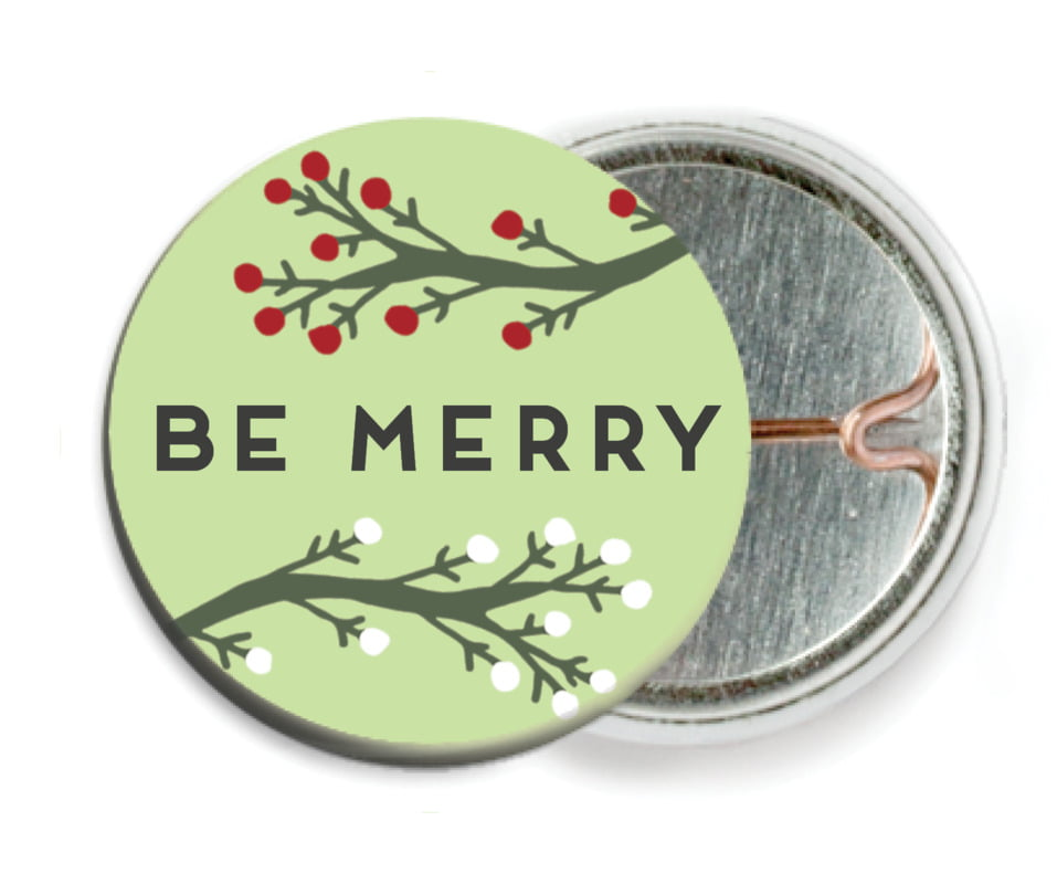 custom pin back buttons - lime - merry berries (set of 6)