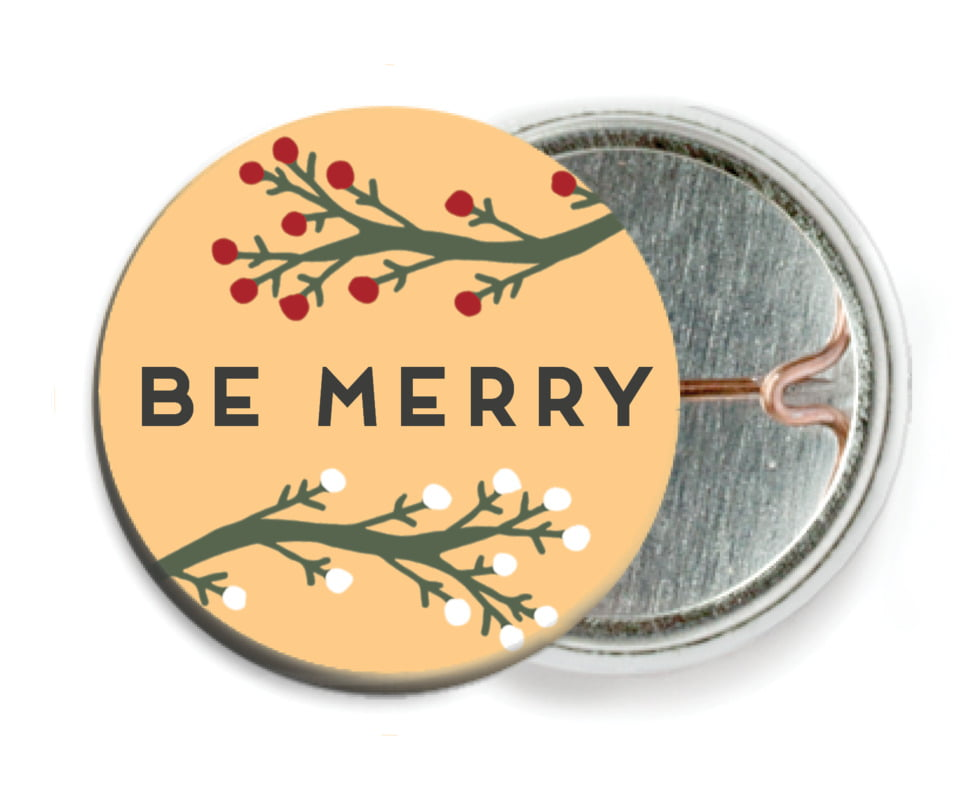 custom pin back buttons - orange - merry berries (set of 6)
