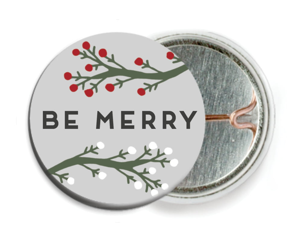 custom pin back buttons - stone - merry berries (set of 6)