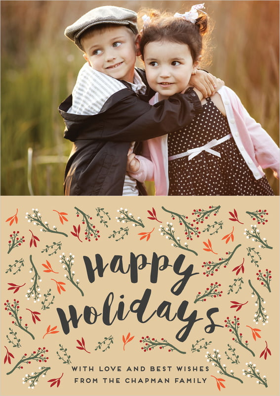 holiday cards - deep gold - merry berries (set of 10)