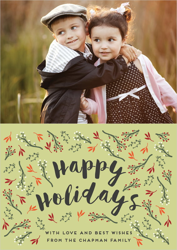 holiday cards - green tea - merry berries (set of 10)