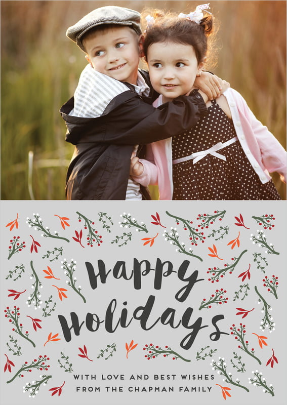 holiday cards - stone - merry berries (set of 10)