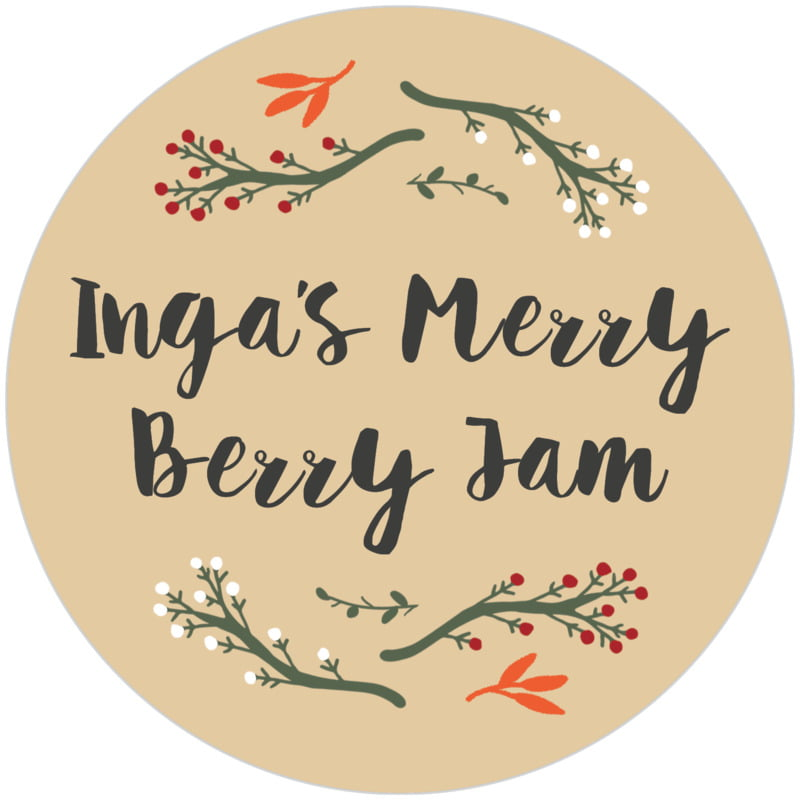 circle food/craft labels - deep gold - merry berries (set of 12)