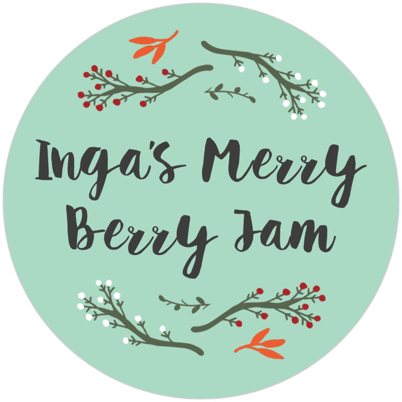 circle food/craft labels - sea glass - merry berries (set of 12)