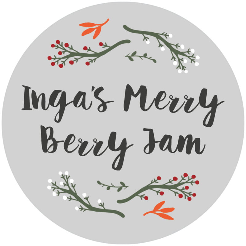 circle food/craft labels - stone - merry berries (set of 12)
